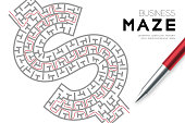 Business Maze or labyrinth Currency USD (United States Dollars) sign shape with drawing red stroke to exitl by pen and businessman, design illustration isolated on white background, with copy space