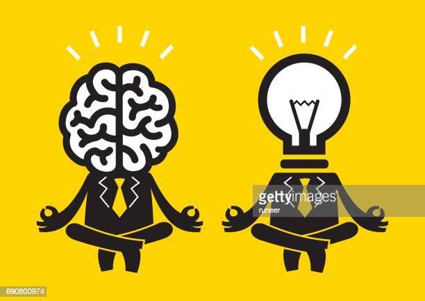 business meditation duo (mr brain & bulb/idea)   yellow business concept - meditation stock illustrations, clip art, cartoons, & icons