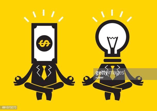 Business-Meditation-Duo (Herr Money & Birne/Idee)   Gelbe Geschäftskonzept