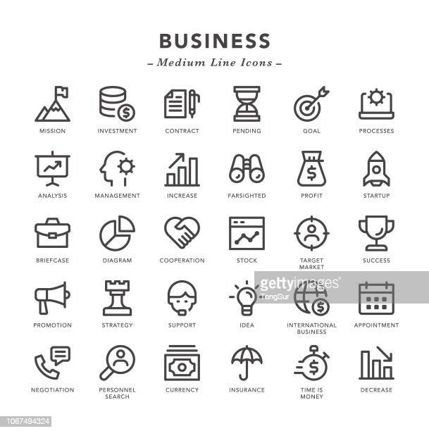 business - medium line icons - ophthalmology stock illustrations, clip art, cartoons, & icons