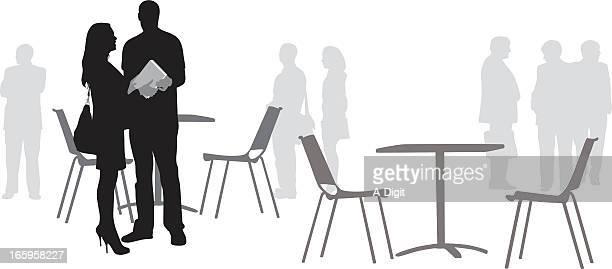 business meet vector silhouette - job fair stock illustrations