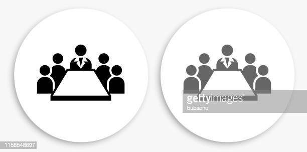 business meeting black and white round icon - tem stock illustrations
