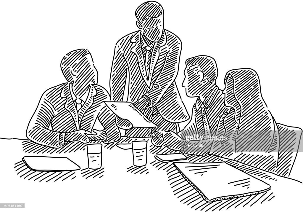 Business meeting Drawing : stock illustration