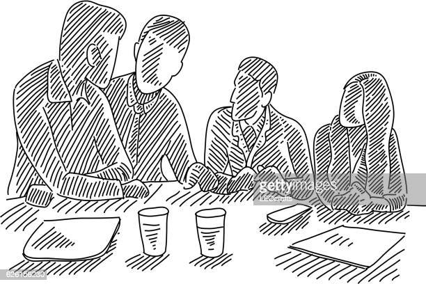 business meeting drawing - pen and ink stock illustrations, clip art, cartoons, & icons