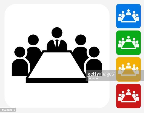 treffen symbol flaches grafikdesign - meeting stock-grafiken, -clipart, -cartoons und -symbole