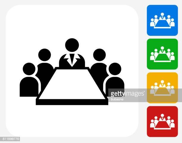 Reunión de negocios diseño gráfico de iconos planos