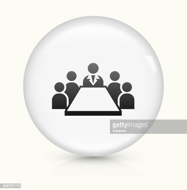 Reunión de negocios icono sobre blanco, Vector de redondo botón