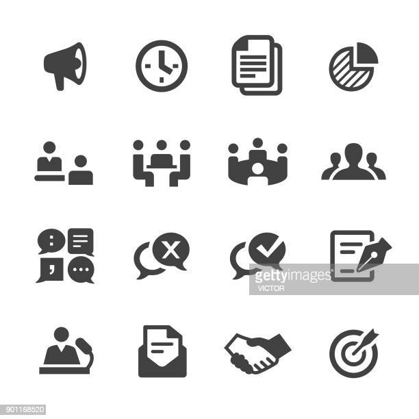 business meeting icons - acme series - communication problems stock illustrations