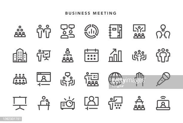 business meeting icons - participant stock illustrations
