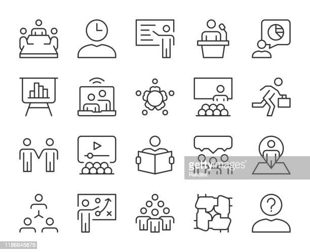 business meeting - light line icons - umschulung stock-grafiken, -clipart, -cartoons und -symbole