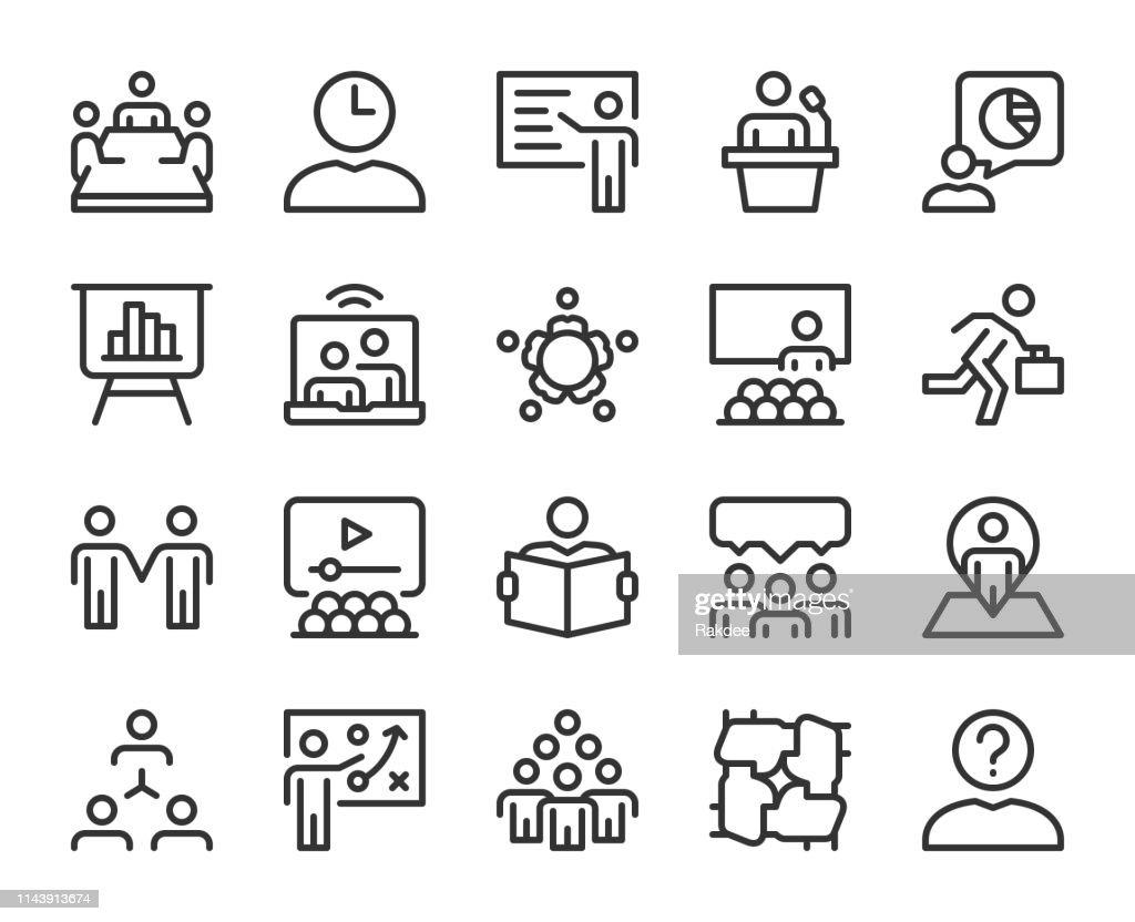 ビジネス会議-ラインアイコン : ストックイラストレーション