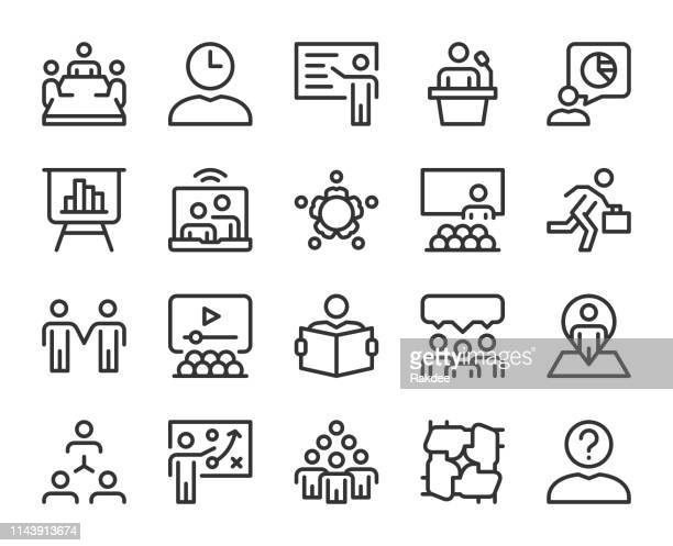 business meeting - line icons - video conference stock illustrations