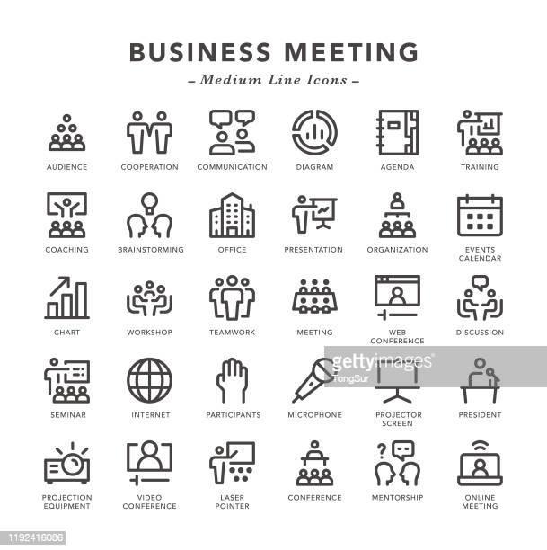 ilustrações, clipart, desenhos animados e ícones de reunião de negócios - ícones da linha média - presidente