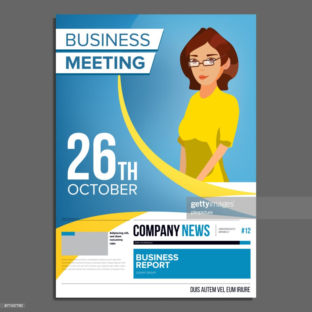 Business meeting poster vector business woman invitation for business meeting poster vector business woman invitation for conference forum brainstorming cover annual report a4 size flat cartoon illustration stopboris Image collections