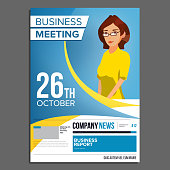 Business Meeting Poster Vector. Business Woman. Invitation For Conference, Forum, Brainstorming. Cover Annual Report. A4 Size. Flat Cartoon Illustration