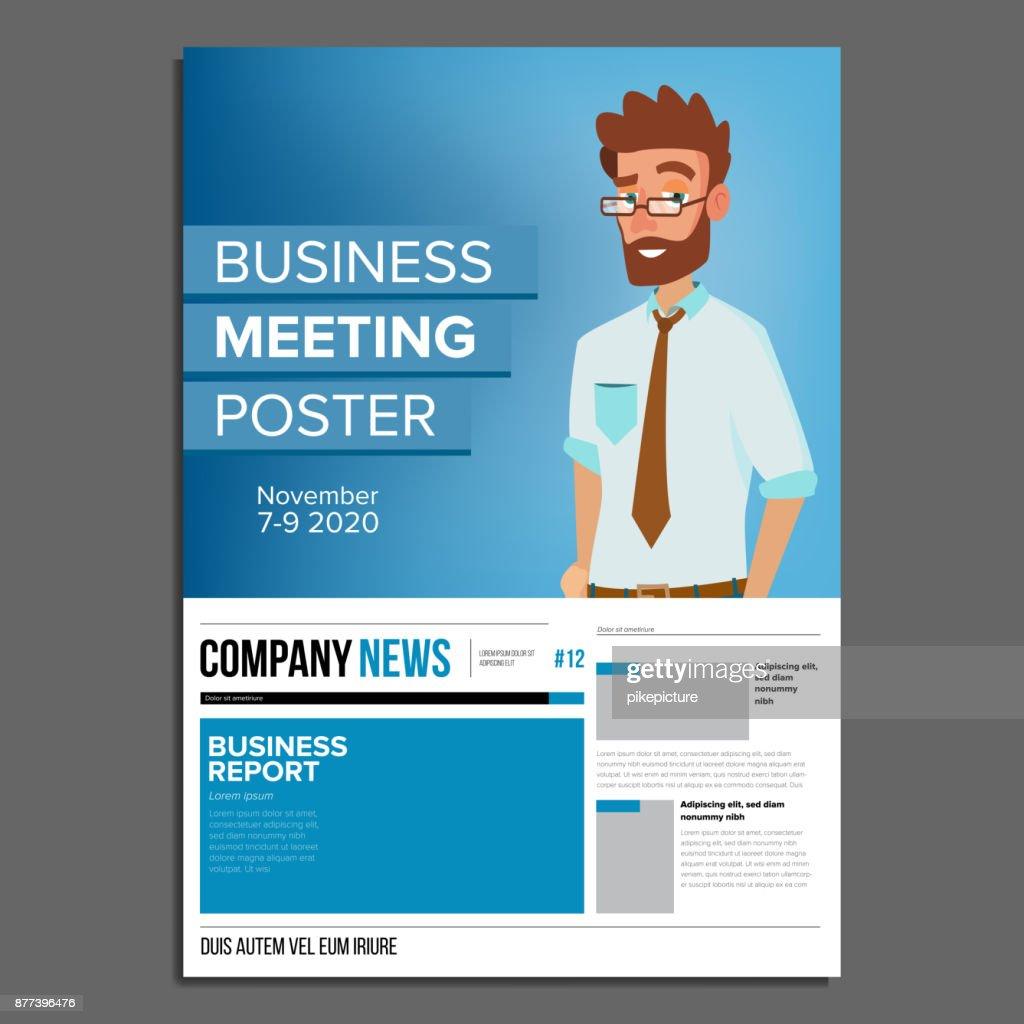 Business Meeting Poster Vektor Geschäftsmann Einladung Und Datum ...