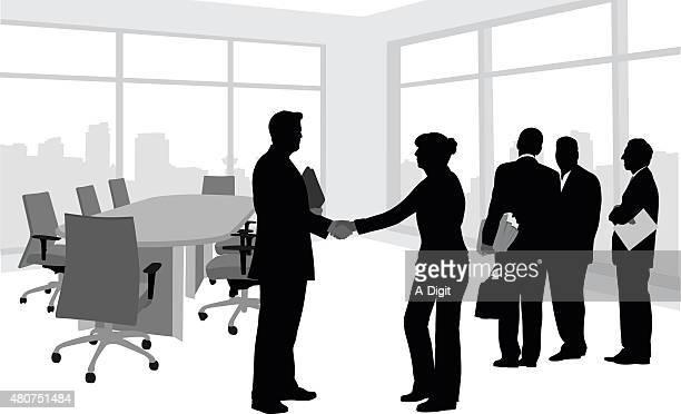 Business Meeting Silhouette Handshake