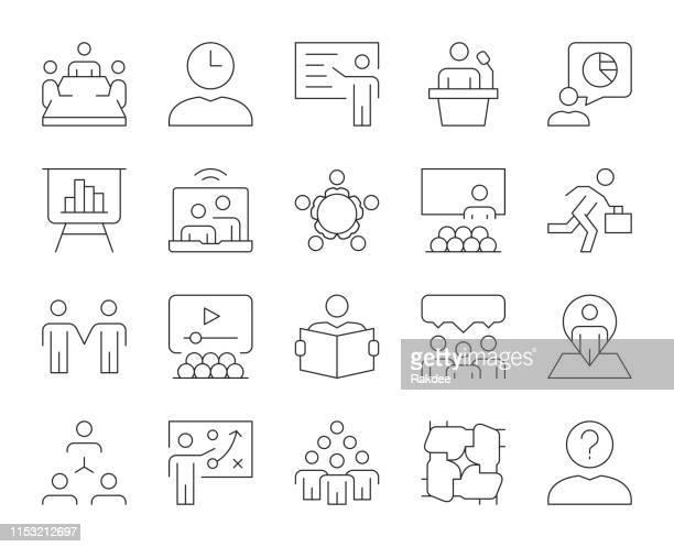 business meeting-thin line icons - meeting stock-grafiken, -clipart, -cartoons und -symbole
