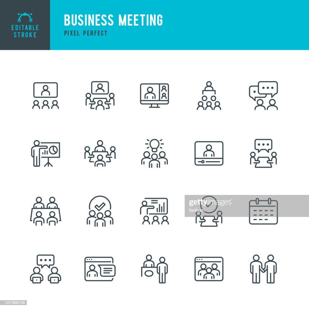 ビジネスミーティング - 細線ベクトルアイコンセット。ピクセルパーフェクト。セットには、ビジネスミーティング、Web会議、チームワーク、プレゼンテーション、講演者、遠い仕事のアイ� : ストックイラストレーション