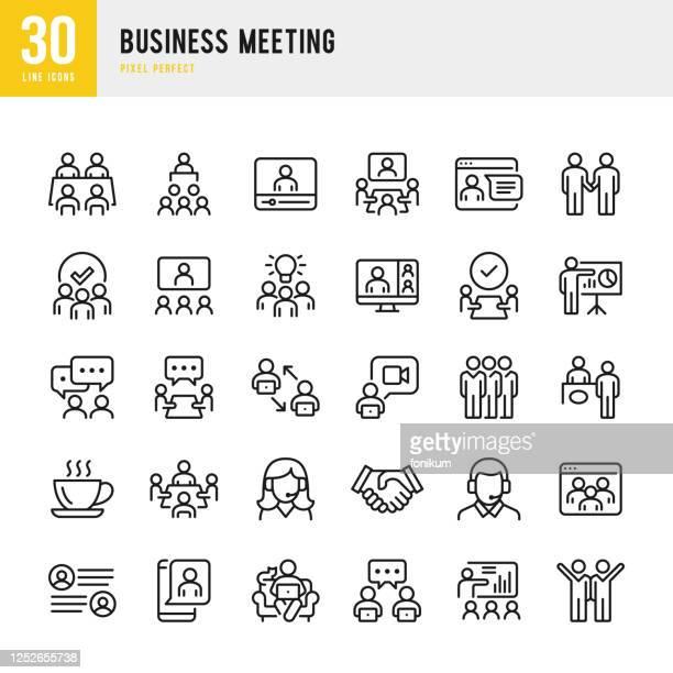 ilustrações de stock, clip art, desenhos animados e ícones de business meeting - thin line vector icon set. pixel perfect. the set contains icons: business meeting, web conference, teamwork, presentation, speaker, distant work, group of people. - envolvimento dos funcionários