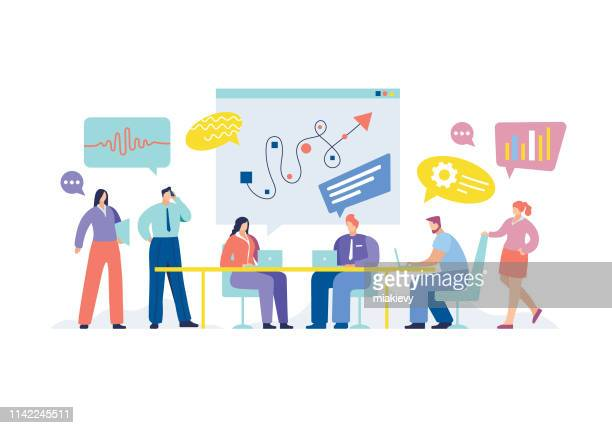 business meeting - teamwork stock illustrations