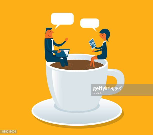 business meeting - coffee break stock illustrations