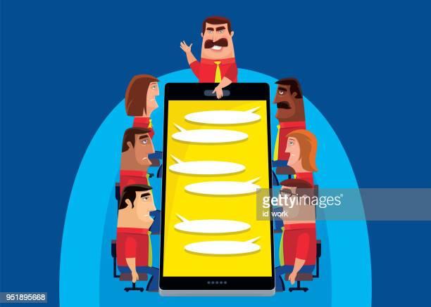 ilustraciones, imágenes clip art, dibujos animados e iconos de stock de reunión de negocios vía smartphone - asumir la responsabilidad