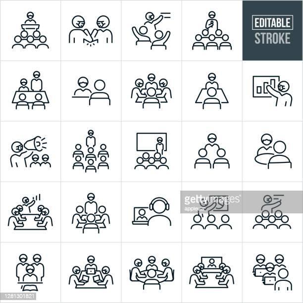 illustrazioni stock, clip art, cartoni animati e icone di tendenza di riunioni di lavoro e maschera con icone di linea sottile - tratto modificabile - grande gruppo di persone
