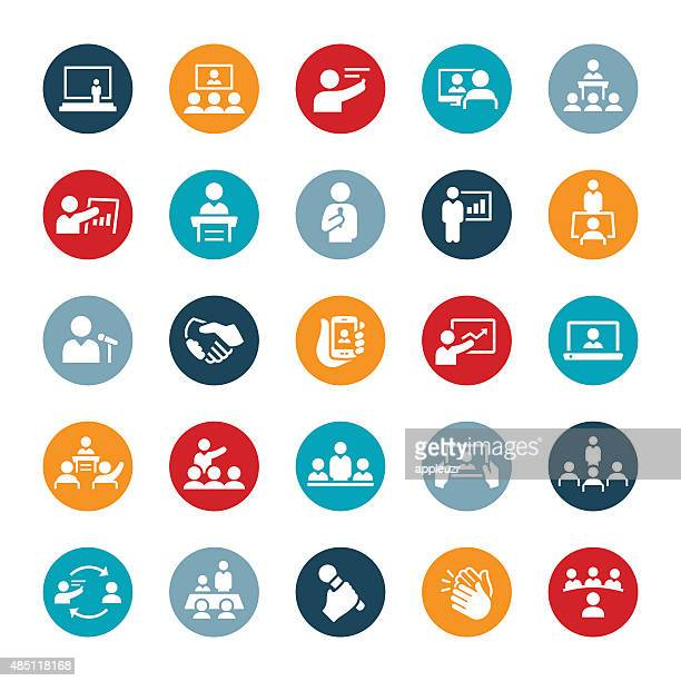 business meetings and presentations icons - showing stock illustrations