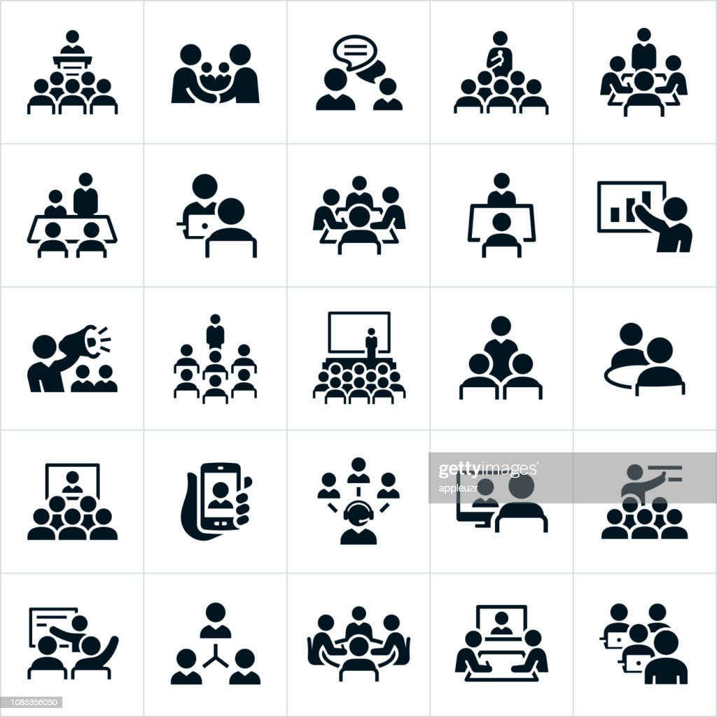 Business Meetings and Seminars Icons : stock illustration