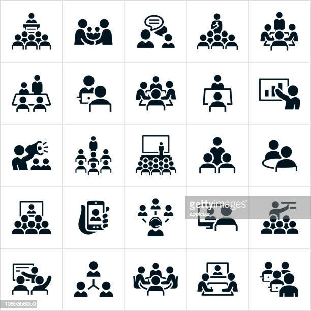 business meetings and seminars icons - event stock illustrations