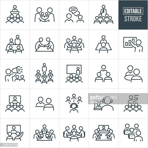 business meetings and seminars thin line icons - editable stroke - small group of people stock illustrations