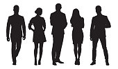 Business men and women, group of people at work. Isolated vector silhouettes