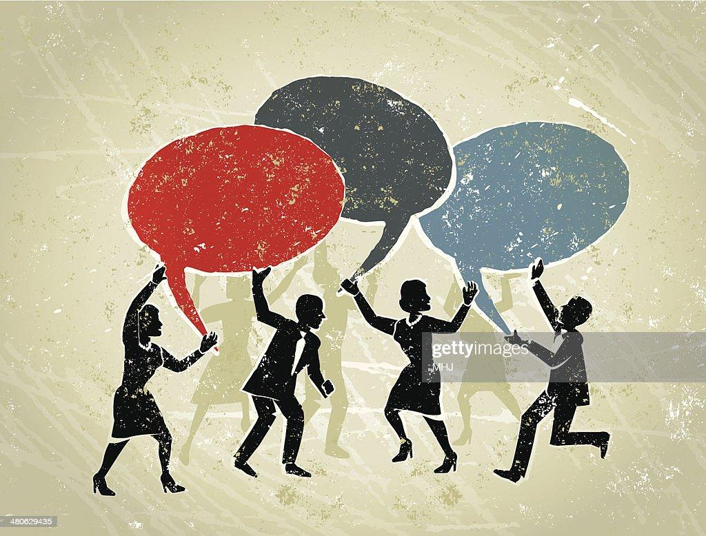 Business Men and Women Holding Speech Bubbles