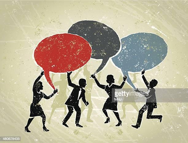 ビジネスの男性と女性のスピーチの泡を - 噂点のイラスト素材/クリップアート素材/マンガ素材/アイコン素材