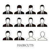 business men hairstyle icons set, vector illustrator
