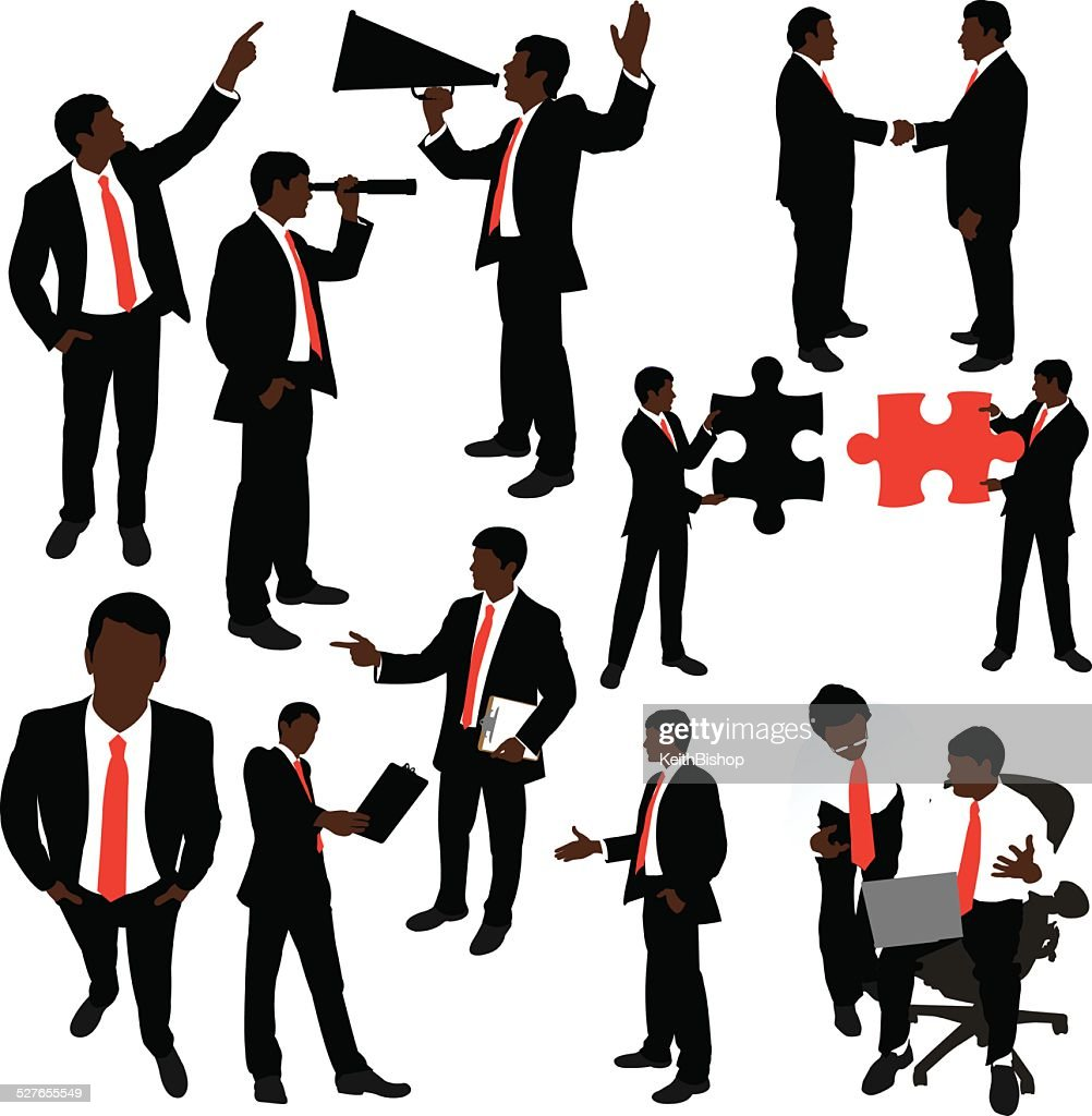 Business Men Metaphors, Handshake, Clipboard, Megaphone