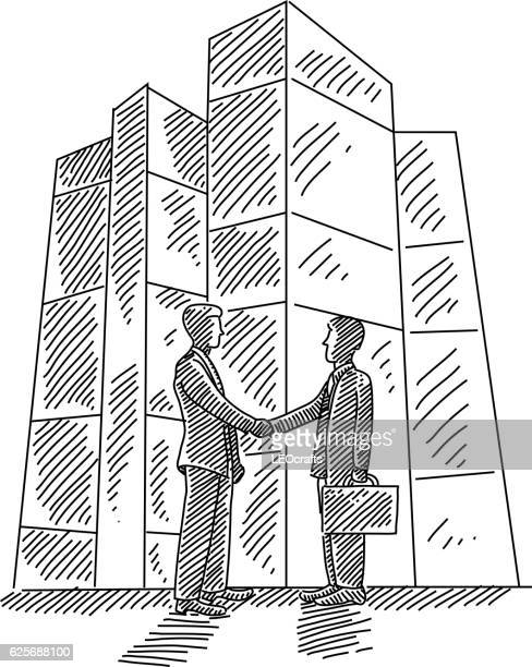 Business men Shaking hands Drawing