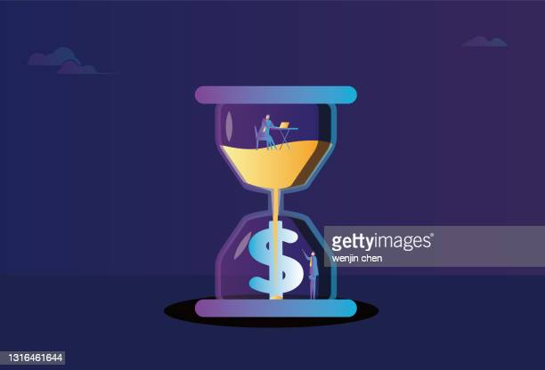 business men work in an hourglass, hourglass and dollars, time is money - deadline stock illustrations