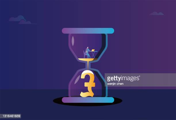 business men work in an hourglass, hourglass and pound sterling, time is money - deadline stock illustrations