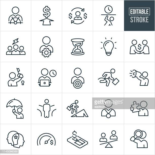 business metaphors thin line icons - editable stroke - using computer stock illustrations
