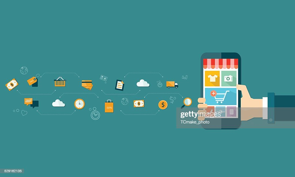 business mobile online shopping and e-marketing on mobile