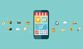 business mobile online shopping on mobile device background