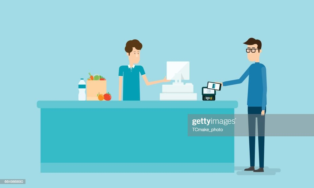 business mobile payment and mobile wallet concept with people on counter