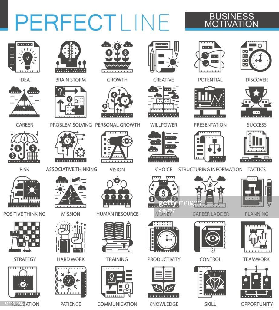 Business motivation classic black mini concept symbols. Finance discipline modern icon pictogram vector illustrations set.