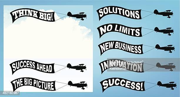 business motivational terms - advertising biplane banner - biplane stock illustrations, clip art, cartoons, & icons