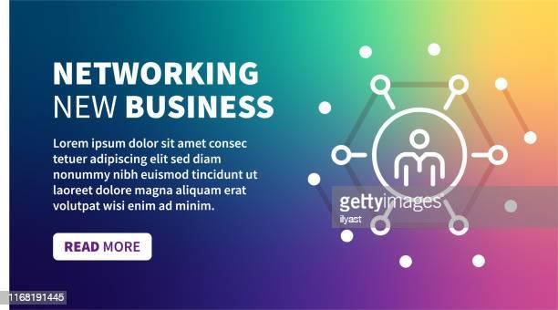 illustrazioni stock, clip art, cartoni animati e icone di tendenza di banner di rete aziendale su sfondo sfumatura olografica - internet delle cose