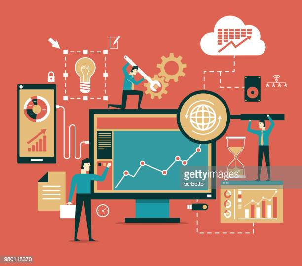 business network concept - analysing stock illustrations