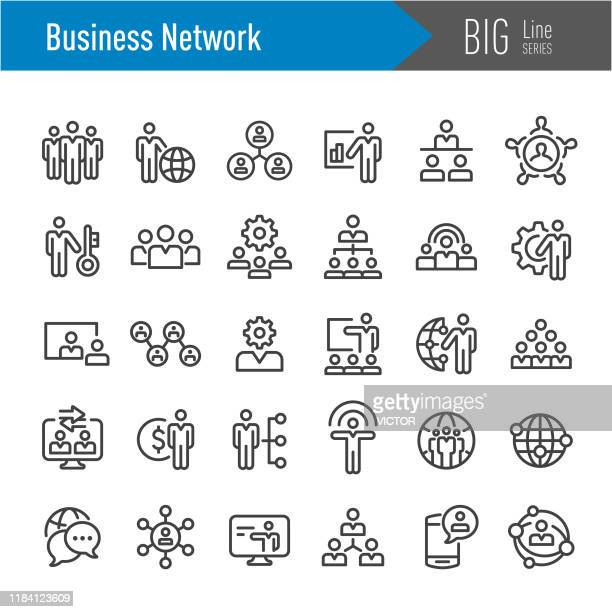 business network icons - big line series - individuality stock illustrations