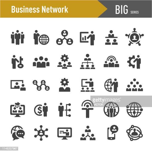 stockillustraties, clipart, cartoons en iconen met business network iconen-grote series - hiërarchie